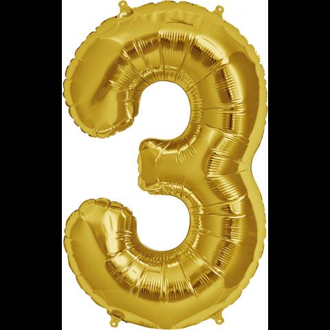 Figurfolieballong, siffra 3 guld