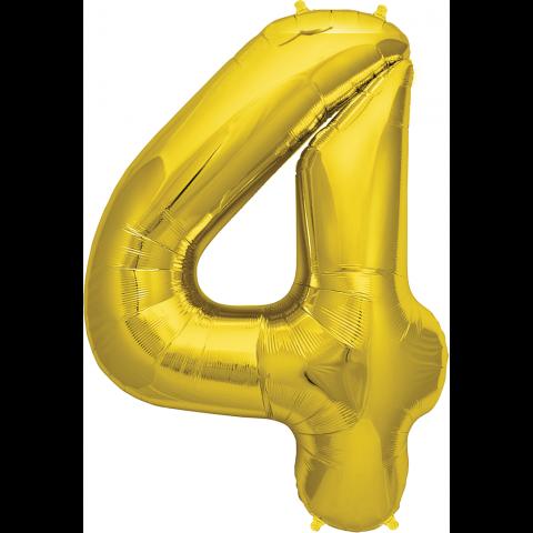 Figurfolieballong, siffra 4 guld