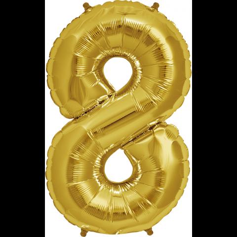 Figurfolieballong, siffra 8 guld