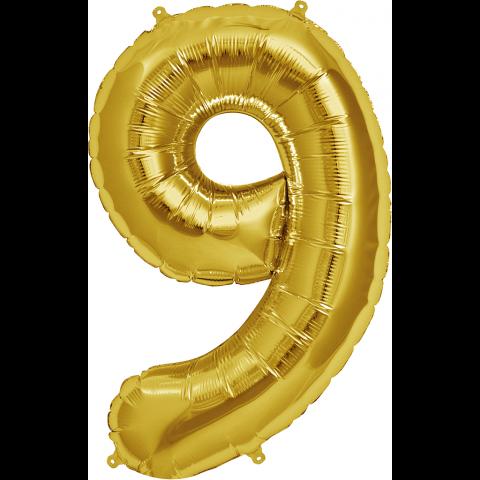 Figurfolieballong, siffra 9 guld