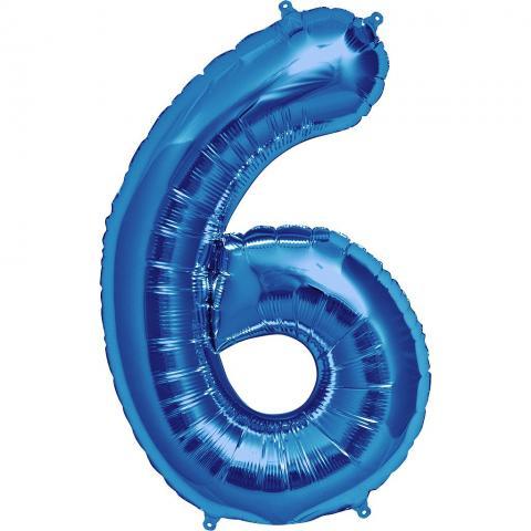 Figurfolieballong, siffra 6 blå