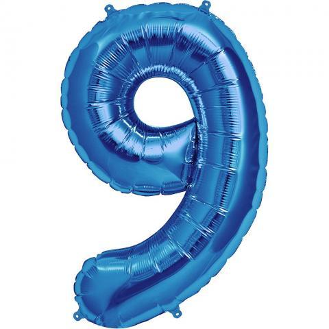Figurfolieballong, siffra 9 blå