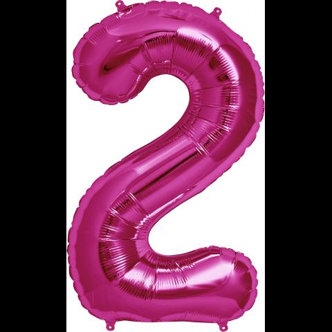Figurfolieballong, siffra 2 rosa