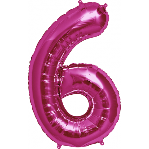 Figurfolieballong, siffra 6 rosa