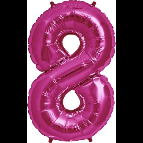 Figurfolieballong, siffra 8 rosa