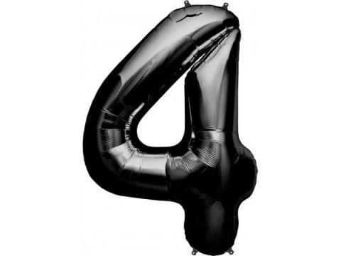 Figurfolieballong, siffra 4 svart