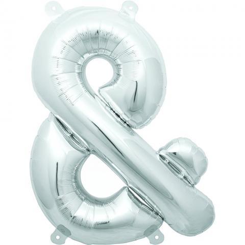 Uppblåsbar ballong, silver &-märke