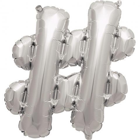 Uppblåsbar ballong, silver #-märke