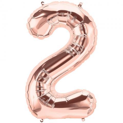 Figurfolieballong, siffra 2 roséguld