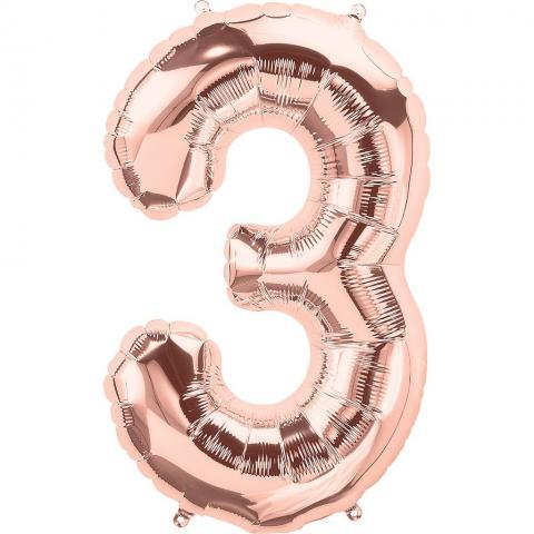 Figurfolieballong, siffra 3 roséguld