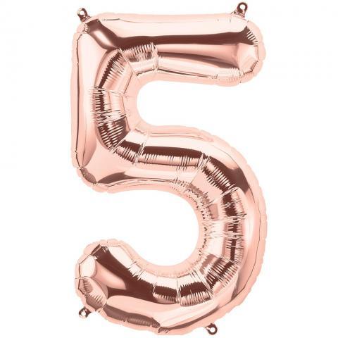 Figurfolieballong, siffra 5 roséguld