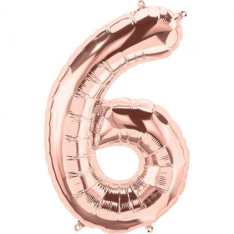 Figurfolieballong, siffra 6 roséguld