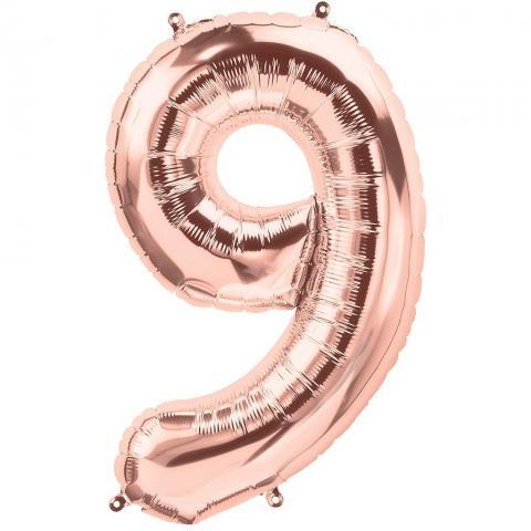 Figurfolieballong, siffra 9 roséguld