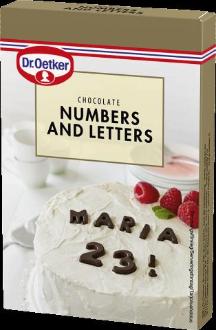 Dr Oetker chokladdekoration, nummer och bokstäver