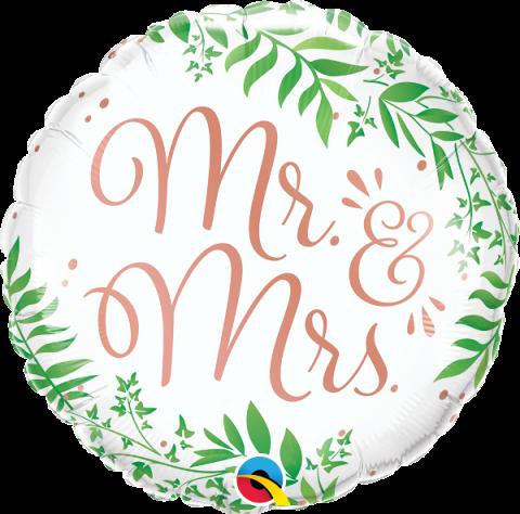 Folieballong, Mr & Mrs elegant greenery