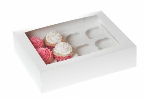 Stor muffinskartong, vit