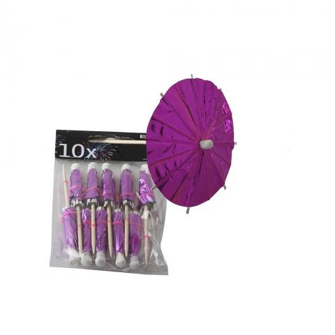 Cocktailpinnar, rosa parasoll 10 st