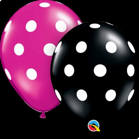 Gummiballong 25st, black&magenta polka dots