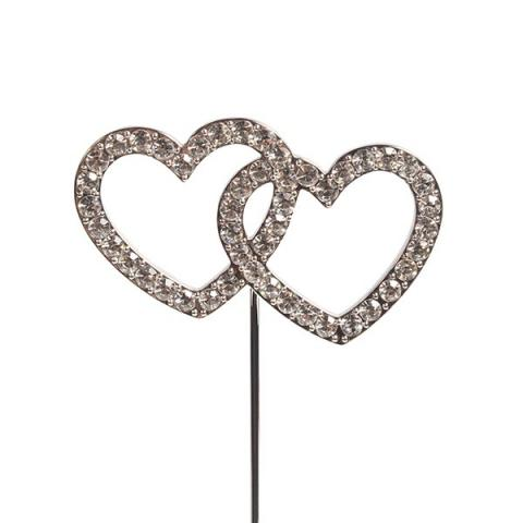 Tårtdekoration, diamanter dubbel hjärta