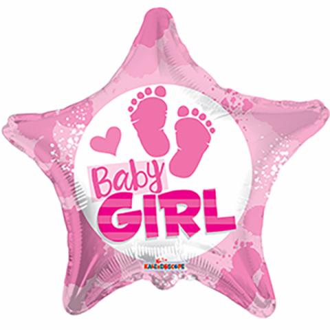 Folieballong, baby girl footprint