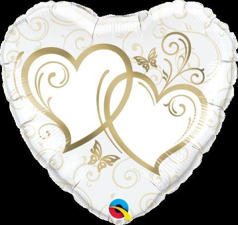 Folieballong, entwined hearts gold