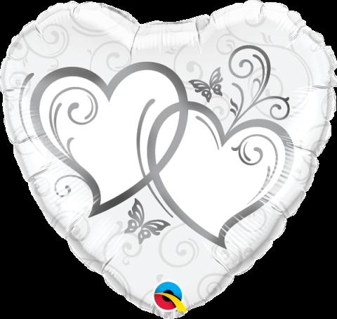 Folieballong, entwined hearts silver