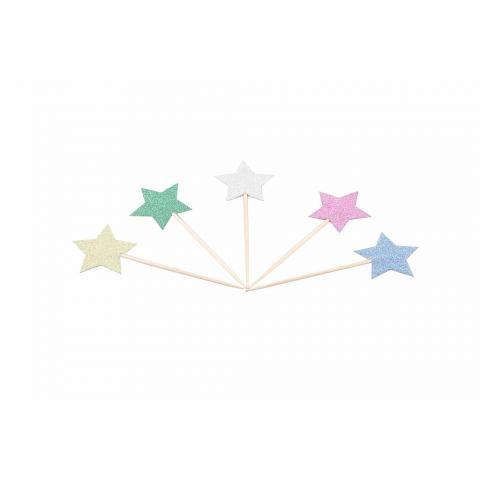 Cocktailpinnar, glitter stjärnor