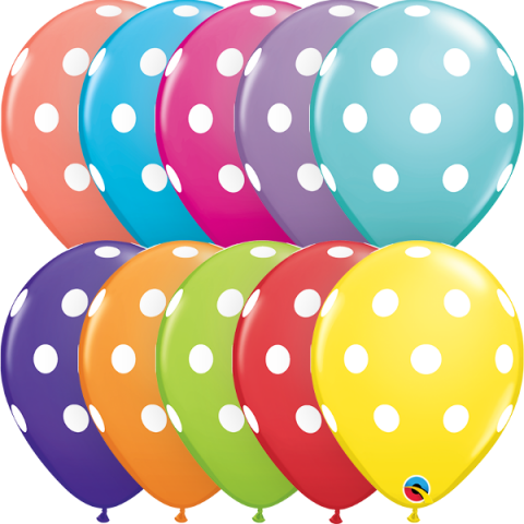 Gummiballonger 6st, polka dot mix