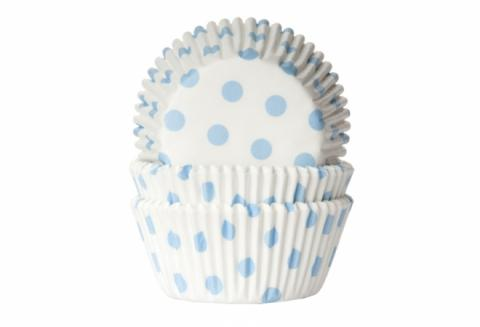 Muffinsform, polkadot babyblue (vit bottenfärg)