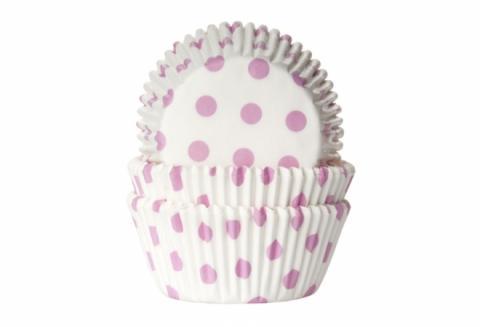 Muffinsform, polkadot babypink (vit bottenfärg)