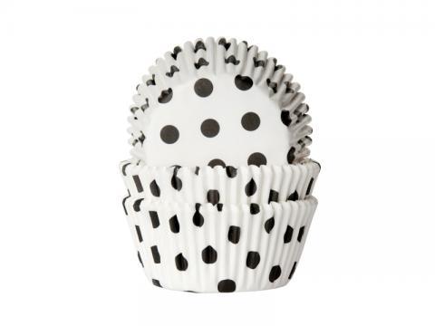 Muffinsform, polkadot svart-vit