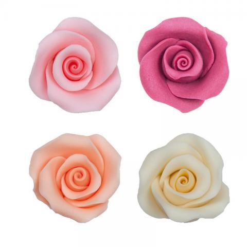 Ätbar dekoration, flerfärgade rosor 10st