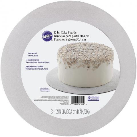 Wilton rund silverglitter tårtbricka, 3st