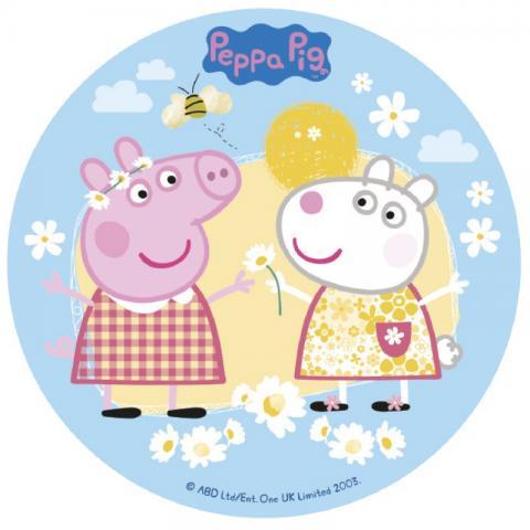 Tårtbild av sockerpasta, Greta Gris (Peppa Pig)