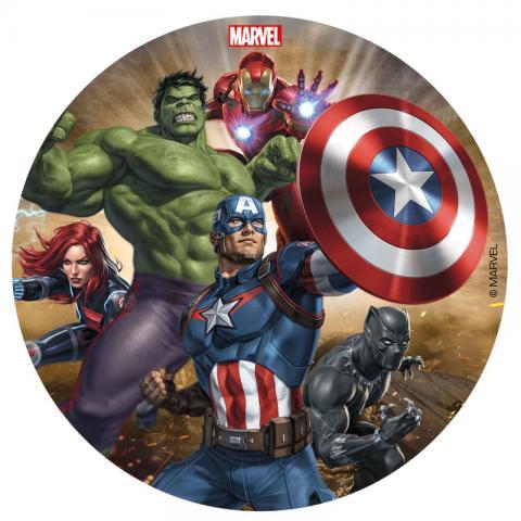 Tårtbild av sockerpasta, Avengers
