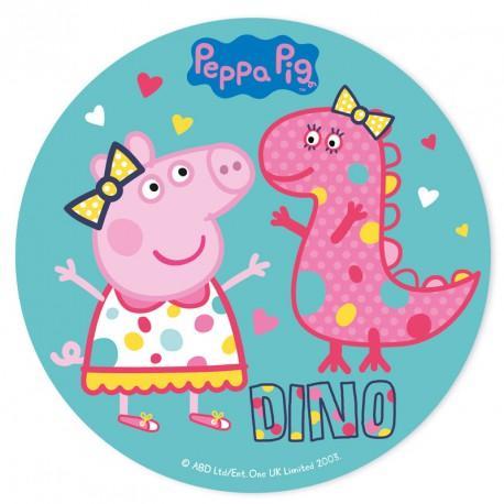 Tårtbild av sockerpasta, Greta gris och dinosaurie