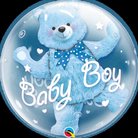 Double Bubble ballong, baby blue bear