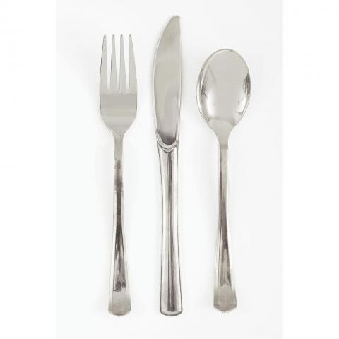 Plastbestick,  glansigt silver