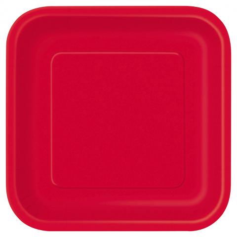 Små fyrkantiga tallrikar, röda