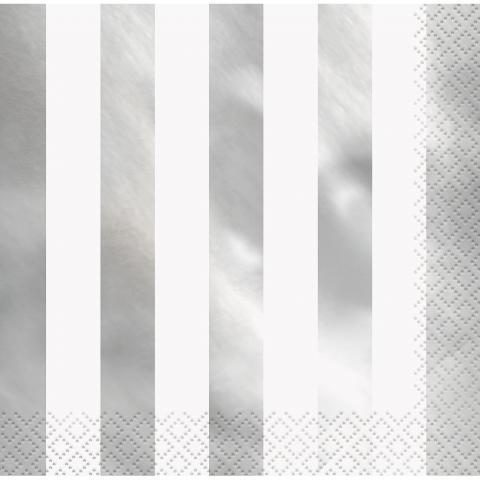 Stora servetter,  silver randiga