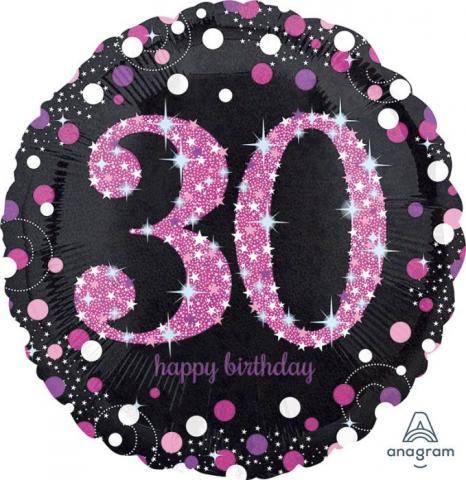 Folieballong, Happy Birthday 30 pink