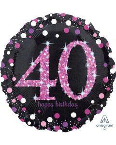 Folieballong, Happy Birthday 40 pink