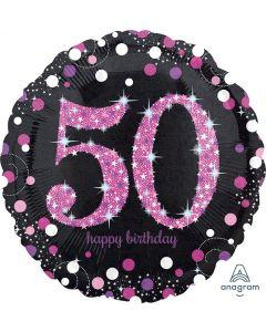 Folieballong, Happy Birthday 50 pink
