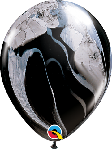 """Gummiballonger 25st, black&white super agate 11"""""""