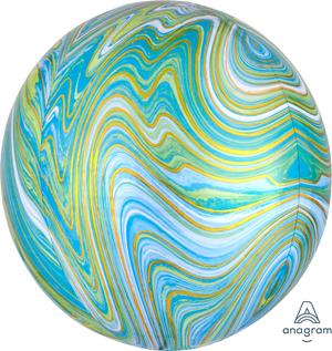 Motivfolieballong, turkos marmor