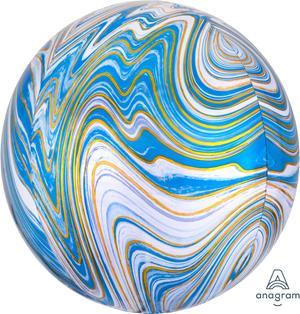 Motivfolieballong, blå marmor