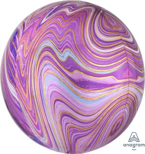 Motivfolieballong, lila marmor