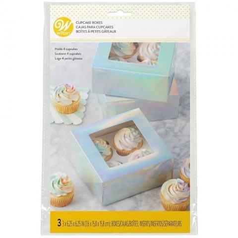 Wilton muffinsbox irridescent, 3 st