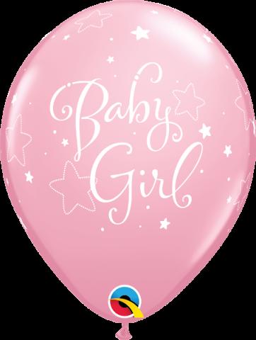 Gummiballonger 6st, baby girl stars