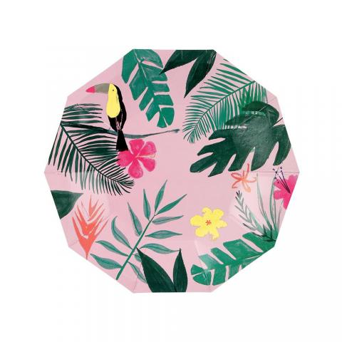 Pink tropical små tallrikar